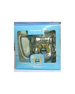 Manchester City Dimple Pint Glass Mug in Pack  - New