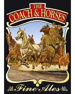 Coach & Horses Metal Postcard