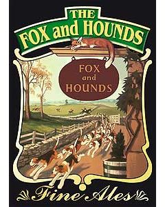 Fox & Hounds Metal Postcard