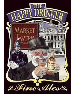 Happy Drinker Metal Postcard