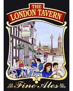 London Tavern Metal Postcard