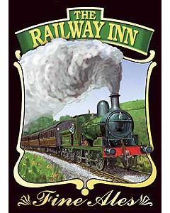 Railway Tavern Metal Postcard
