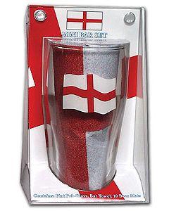 England Mini Bar Set - Pint Glass, Bar Towel & Beer Mats - NIB