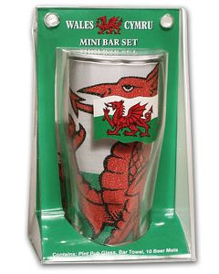 Pint Glass Bar Towel and 10 Mats Wales Flag Mini Bar Gift Set - New