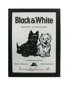 Whisky Black & White Wooden Framed Small Mirror. 32x22cm - New