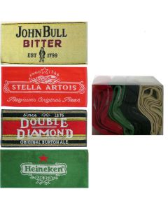 Set 4 x Cotton Bar Towels Heineken Stella Artois Double Diamond John Bull 52x22cm New