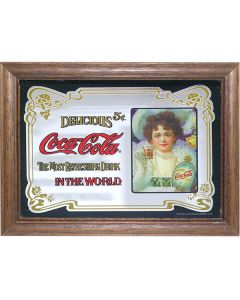 Coca Cola Vintage Style Wooden Framed Mini Mirror. 8x6cm - New