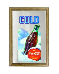 Coke Coca Cola Cold Wooden Framed Mirror. 32.3x22cm. Decoration - Pub - New