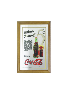 Coke Coca Cola Refresh Yourself Mirror. 32.3x22cm. Pub Style- Decoration - New