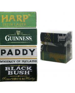 Set 4 x Cotton Irish Bar Towels Guinness Black Bush Paddy Harp 52x22cm New