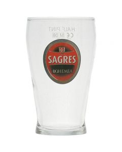 Sagres Portuguese Lager 1/2 (half) Pint Glass - Government Stamp - New