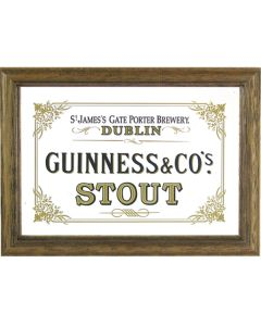 Guinness Irish Stout Beer Wooden Framed Mini Mirror. 8x6cm - New