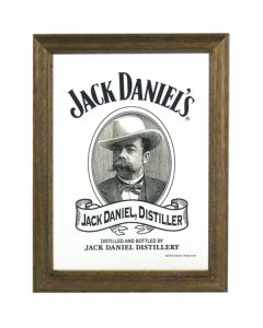 Jack Daniels Whisky Head Wooden Framed Mini Mirror. 8x6cm - New