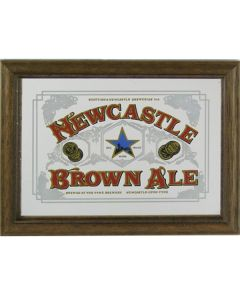 Newcastle Brown Ale Beer Wooden Framed Mini Mirror. 8x6cm - New