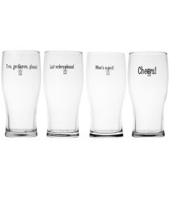 4 Traditional Pub Slogan Pint Beer Glasses in Mailing Carton - Government Stamped -  New