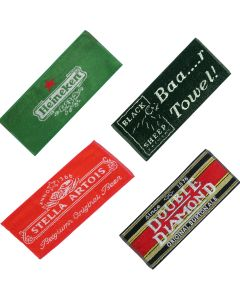 Set 4 x Cotton Beer Bar Towels Newcastle Brown Ale, Double Diamond, Stella Artois and Carlsberg 52x22cm - New