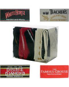 Set 4 x Cotton Bar Towels White horse Teachers Double Diamond Famous Grouse 52x22cm New