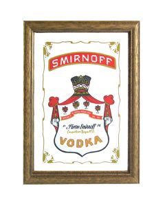 Smirnoff Vodka Wooden Framed Mini Mirror. 8x6cm - New